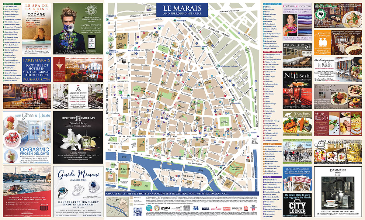 download the ultimate map of le marais 10h edition 2018 with a selection of the best hotels restaurants shops real estate services guided tours