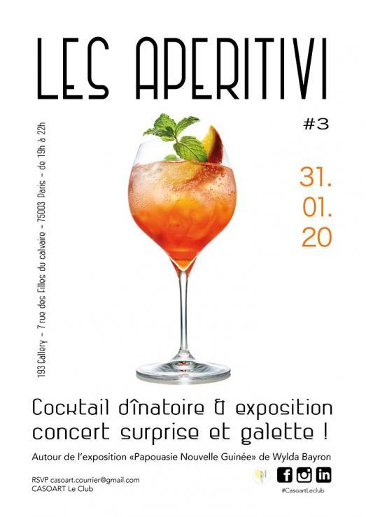 LES APERITIVI de CASOART LE CLUB Cocktail dinatoire & exposition VENDREDI 31 JANVIER 2020