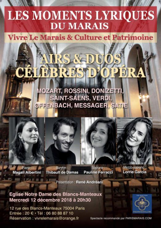 OPERA DANS LE MARAIS : 3ème édition des Moments Lyriques du Marais