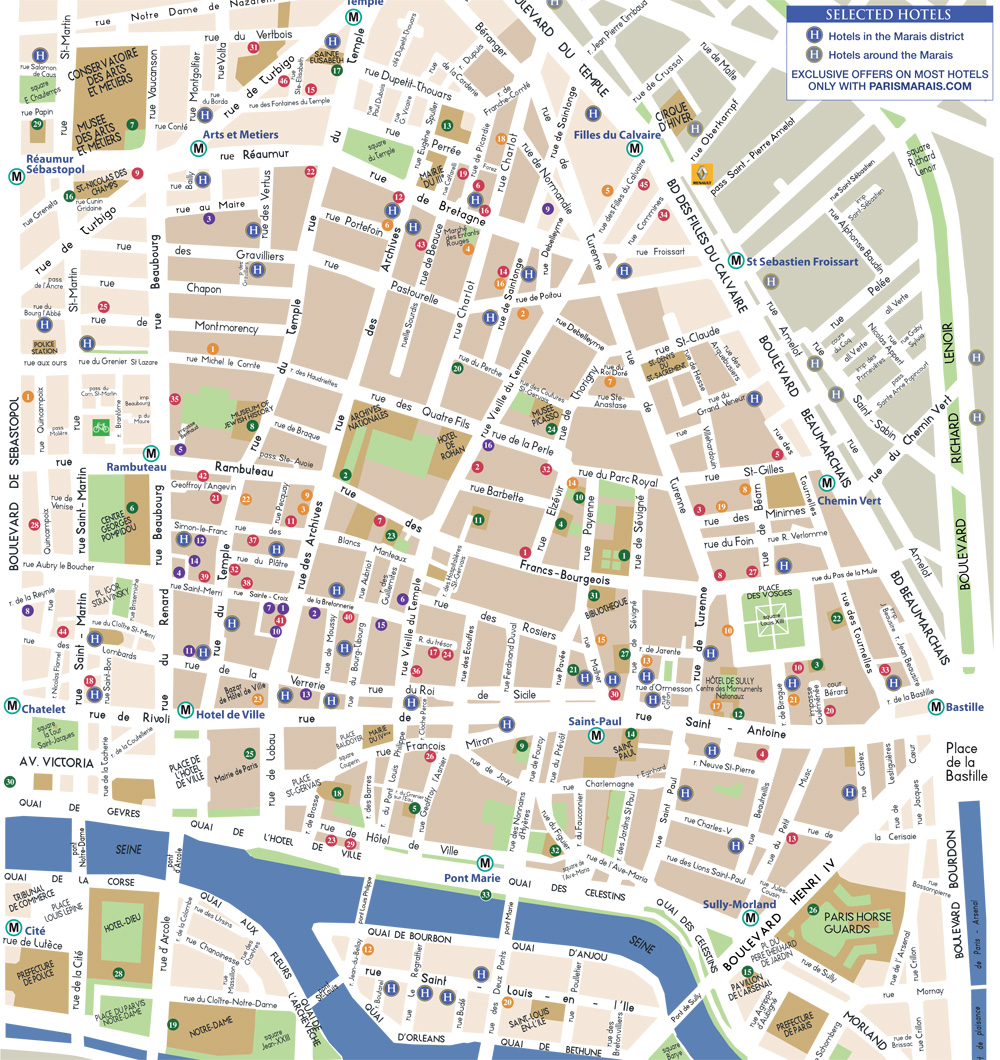 Le Marais District Paris Map Images